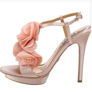 Badgley Mischka Randee Satin Heels in Peach/Cream